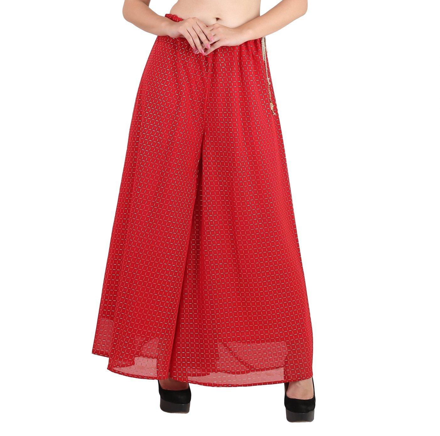 Shararat Women's Palazzo Pants Georgette Checks Print Loose High Waist Trouser