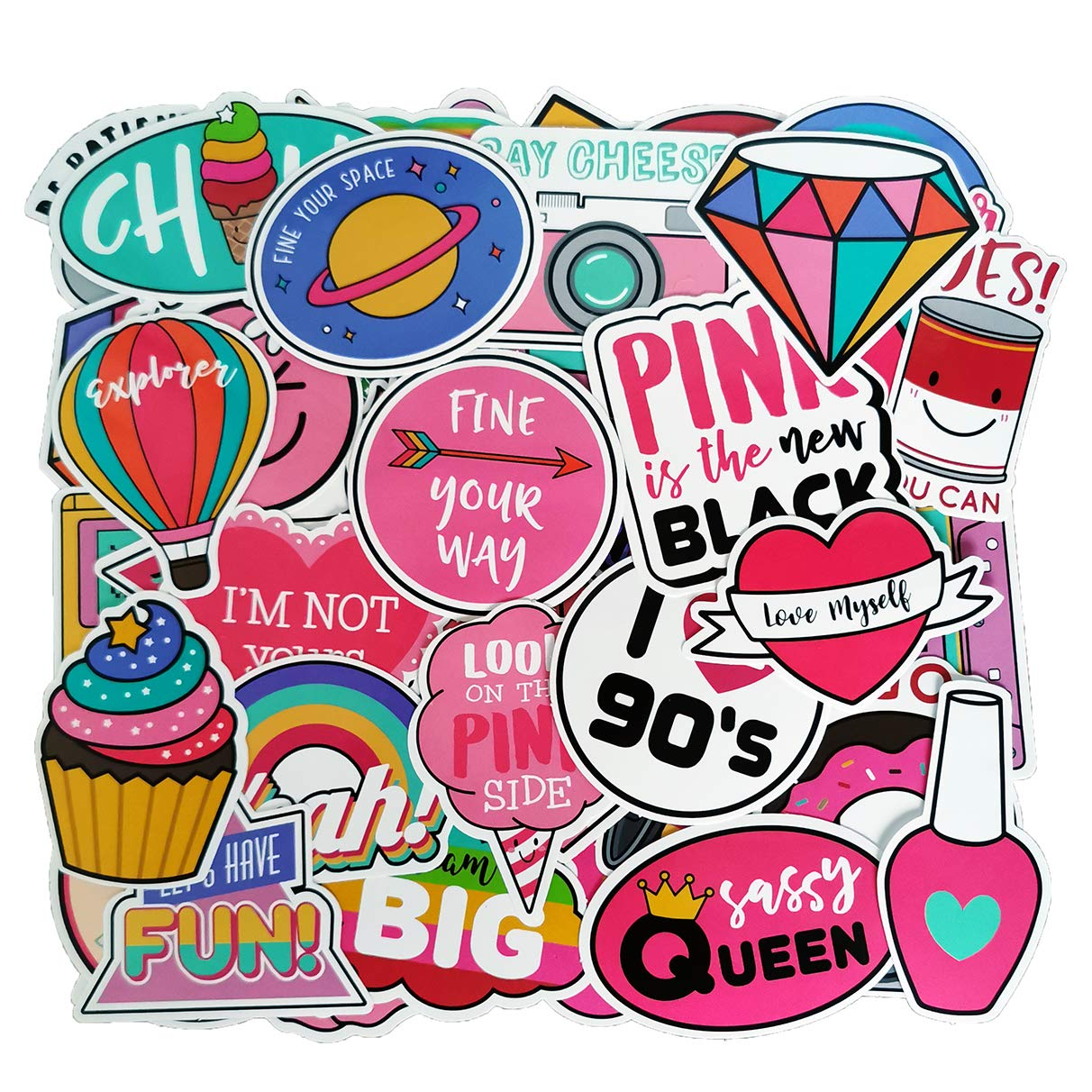Pink VSCO Girl Cute Lovely Adorable Sticker Pack(110-pcs), No Repeat Stickers for Laptop Ipad Water Bottle Phone Luggage Guitar Gift Box Journal Bicycle Scrapbooking Planners with Waterproof PVC