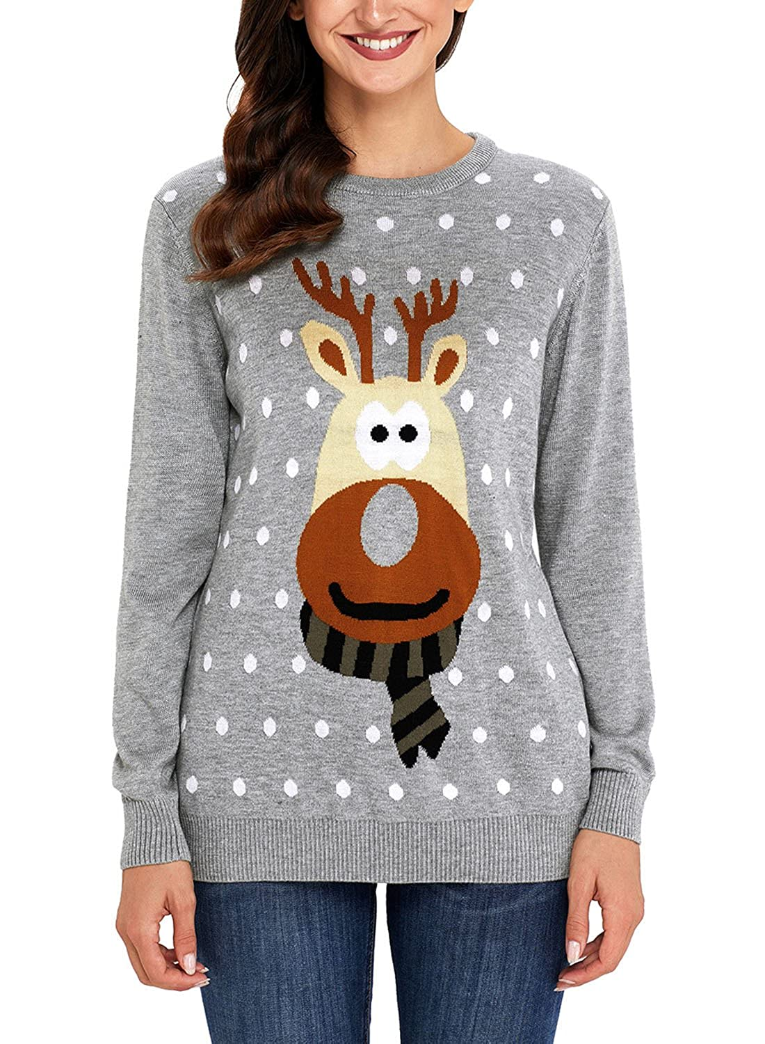 Women's Christmas Cute Reindeer Knitted Sweater Girl Pullover at ...