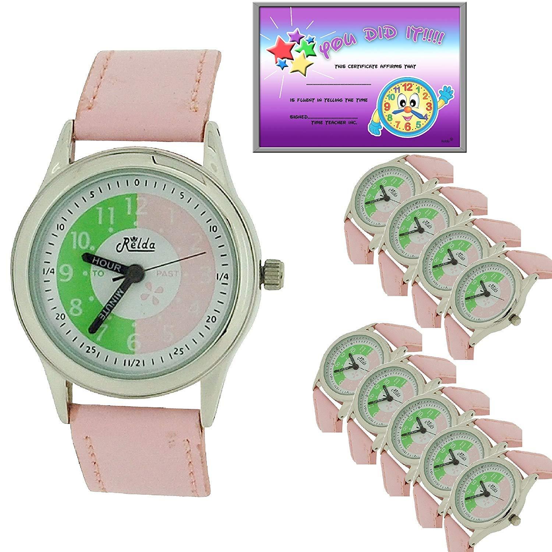 10 x bulk för skolan relda Time Teacher lila barn pojkar flickor armbandsur Award rosa