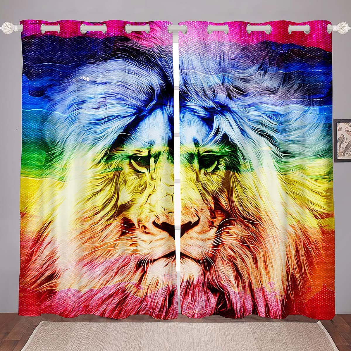 Lion Design Sale special price Youth Window Drapes Strong Max 77% OFF Africa Styl Wildlife