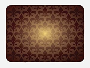 "Ambesonne Fleur De Lis Bath Mat, Royal Lily Flower Inspired Floral Baroque Style Dark Pattern Modern Style Artwork, Plush Bathroom Decor Mat with Non Slip Backing, 29.5"" X 17.5"", Brown"