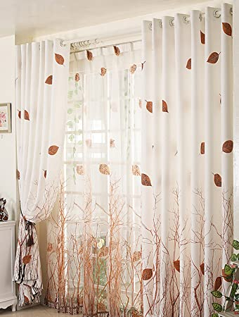 ElleWeiDeco Modern Autumn Leaf Tree Branch Sheer Window Curtains/drape/panel  (Brown Curtain