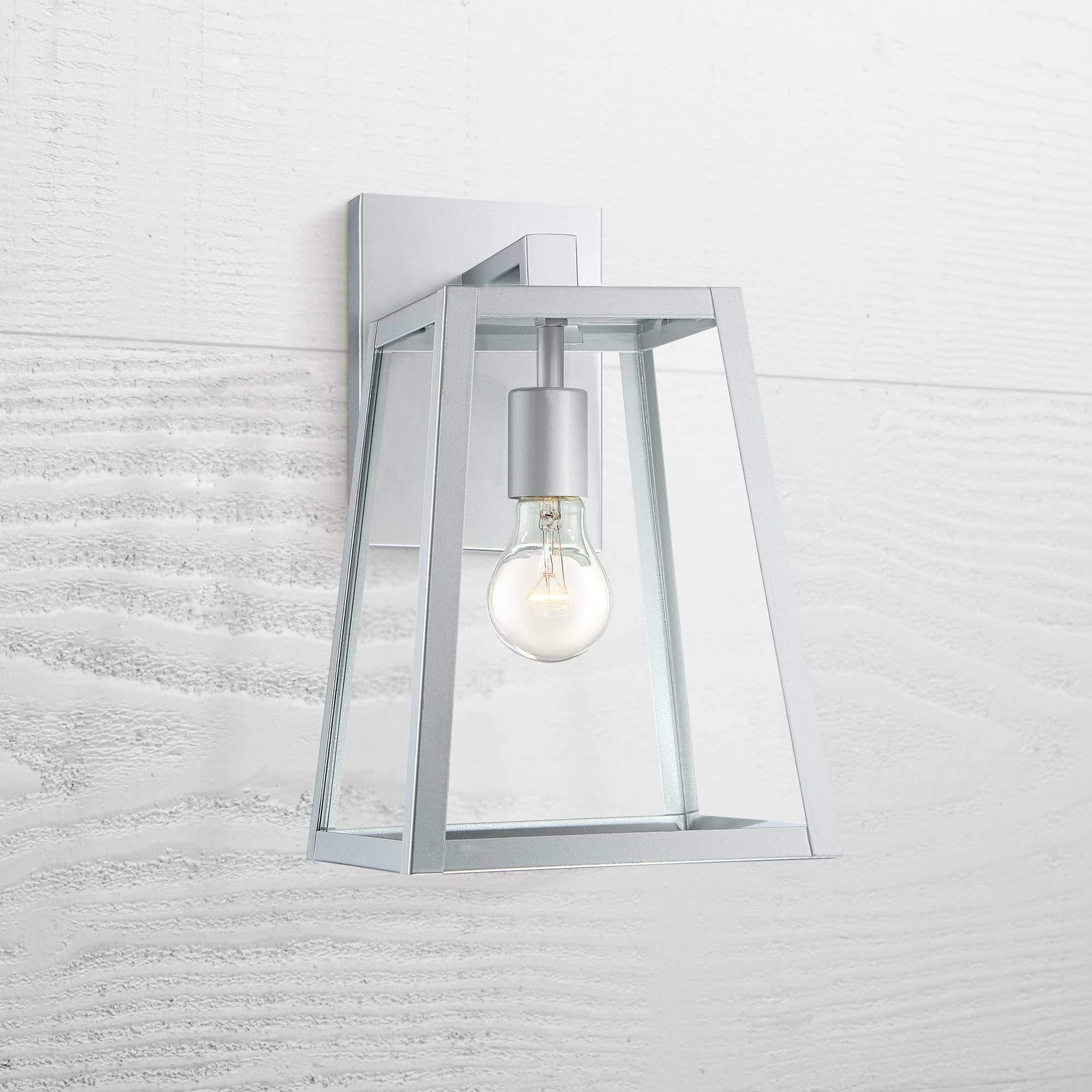 Arrington Modern Outdoor Wall Light Fixture Sleek Silver Steel 13'' Clear Glass for Exterior House Porch Patio Deck - John Timberland