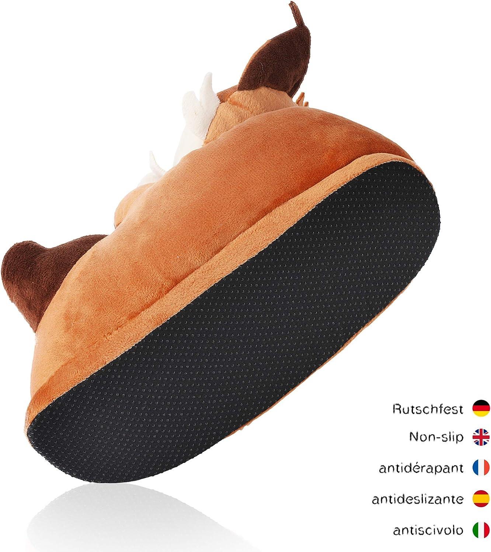 corimori  1847 - Pantoufles Mignonnes En Peluche Polaire Plusieurs Mod/èles Beige Taille Unique 25-33,5 Akito Le Shiba Inu Chaussons Avec T/ête DAnimal