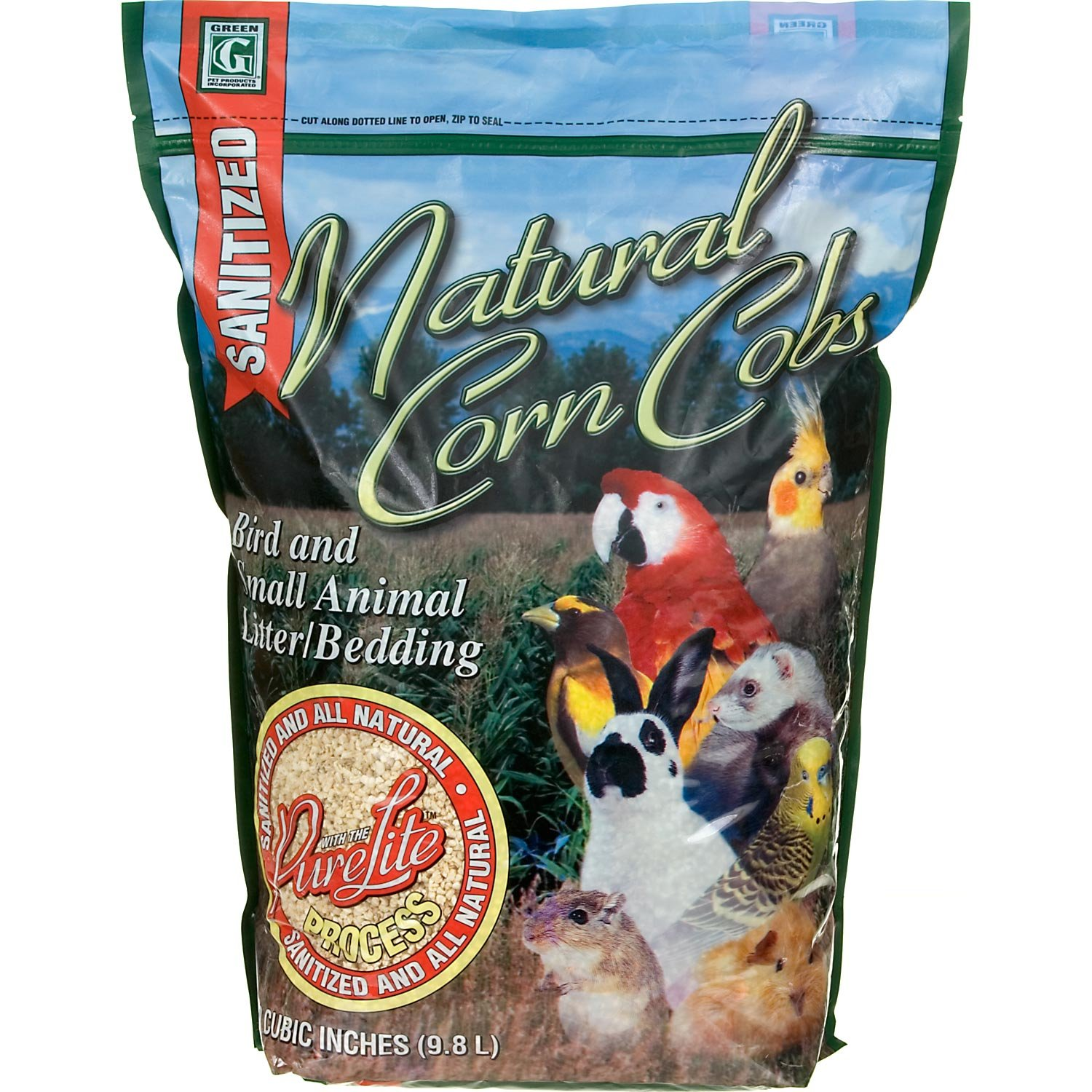 Absorbtion Corp Pet Products Natural Corn Cob Purelite Litter, 600 Cubic Inch, Green 100245