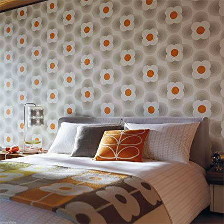 Orla Kiely For Harlequin Striped Petal Wallpaper Feature Fog Orange 110403