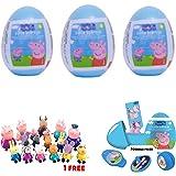 3 Peppa Pig plastic surprise eggs and 1 single figurine