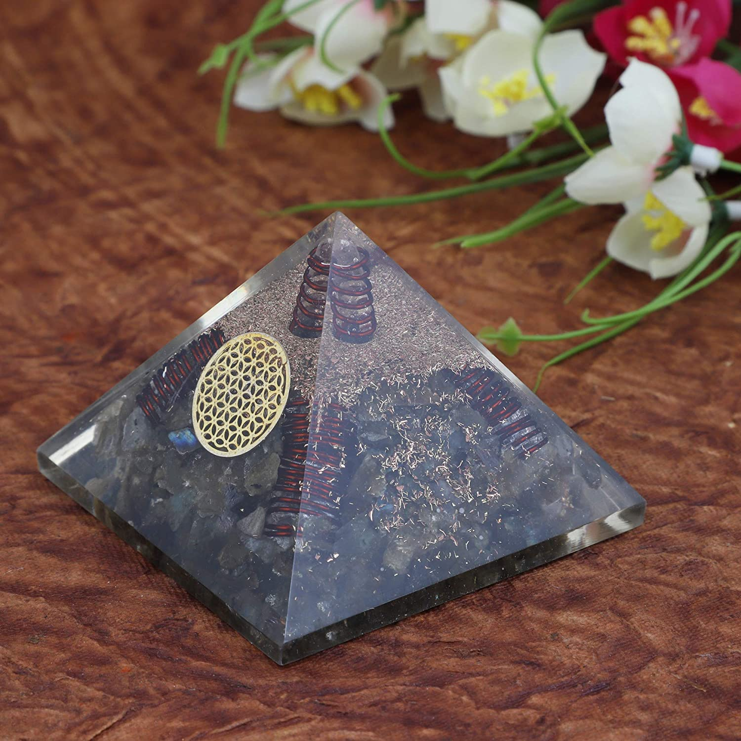 2.5-3 pollici Crocon Labradorite Orgone crystal Gemstone Pyramid with Flower of life symbol for Chakra dellenergia positiva Reiki healing /& Aura cleaning size