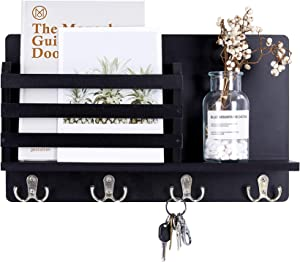 Mimacoo Wall Mounted Key Mail Holder Organizer Wooden Mail Sorter with 4 Double Coat Key Hooks and A Floating Shelf Rustic Home Decor for Entryway or Mudroom,Black