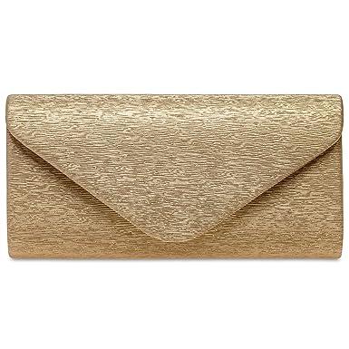 b490ab28f3956 Caspar TA518 Damen kleine elegante Envelope Glanz Clutch Tasche Abendtasche