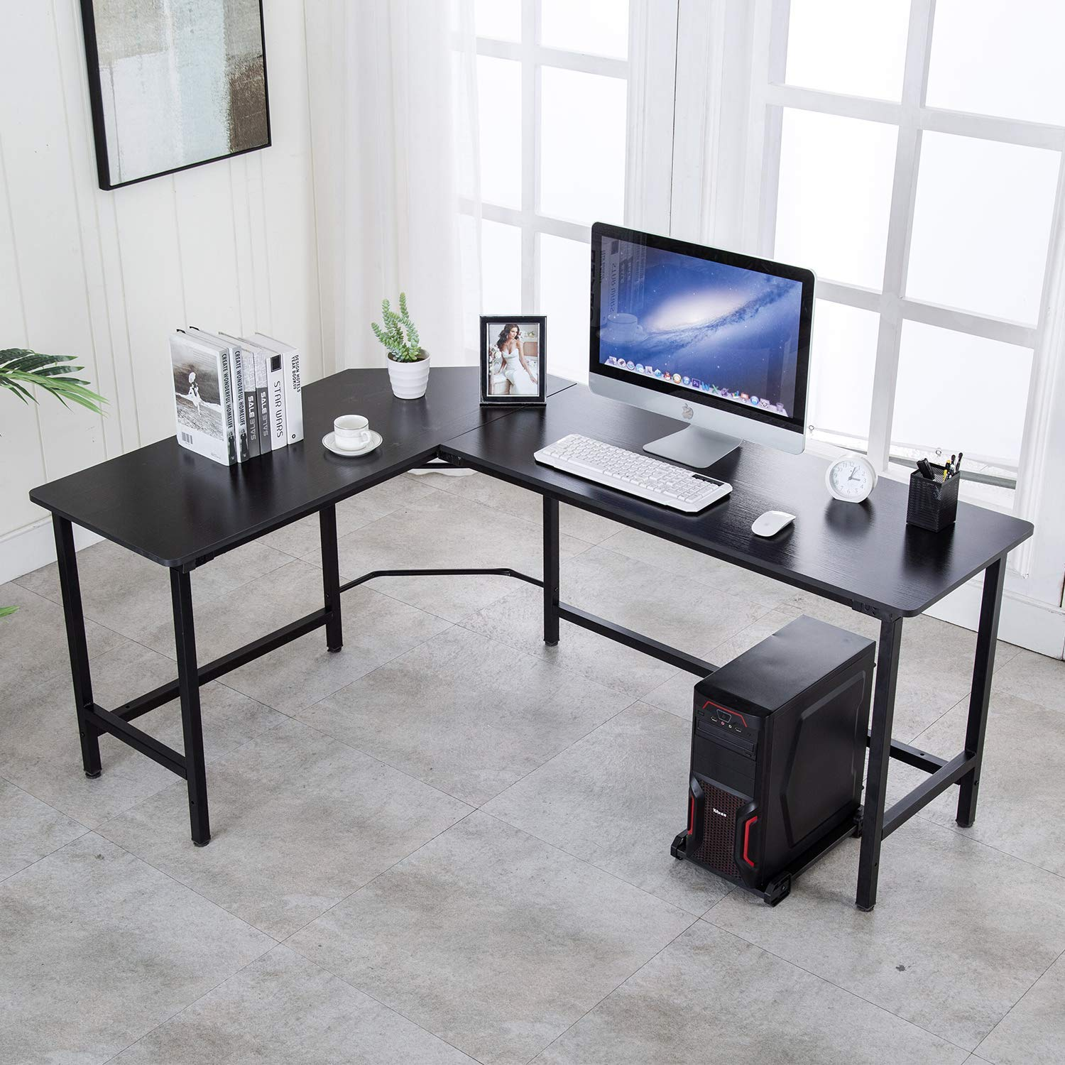 VADIM L-Shaped Computer Desk 66×47 inch with Computer CPU Stand Cart free Home Office Corner Desk fit Multiple screens or Computers, Black
