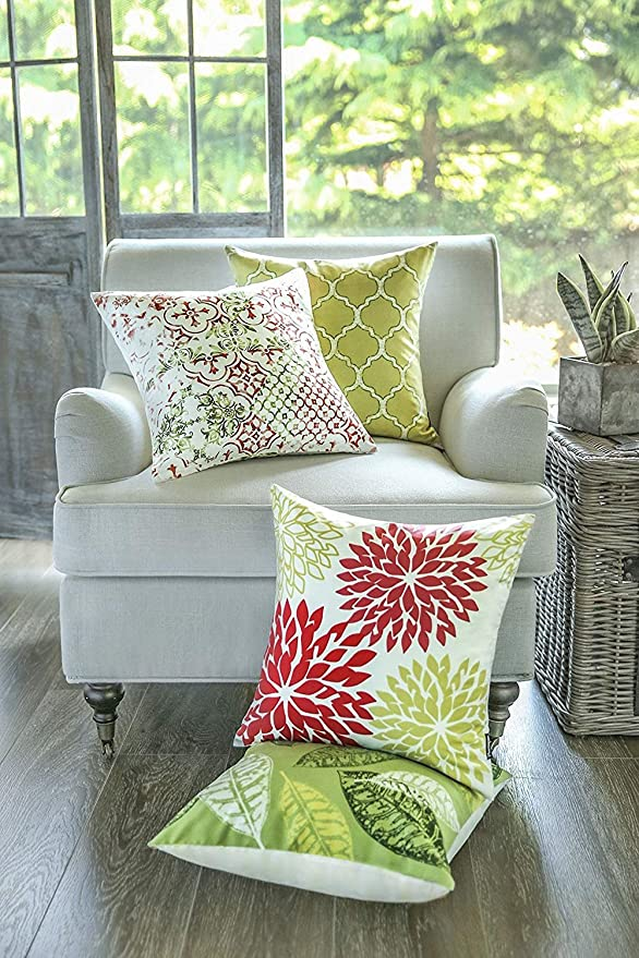 Phantoscope Set of 4 New Living Yellow and Green Decorative Throw Pillow Case Cushion Cover 18