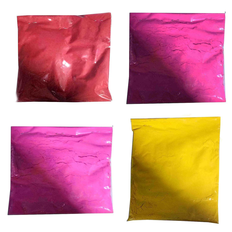 Diwali Rangoli Colors, 4 Colors for Making Rangoli, Colors, 50 Gram Packets (Colors Light Pink / Yellow / Dark Pink / Red ) IndiaBigShop