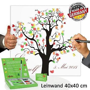 Hochzeitsbaum Fingerabdruck 40x40 Mit NAMEN DATUM