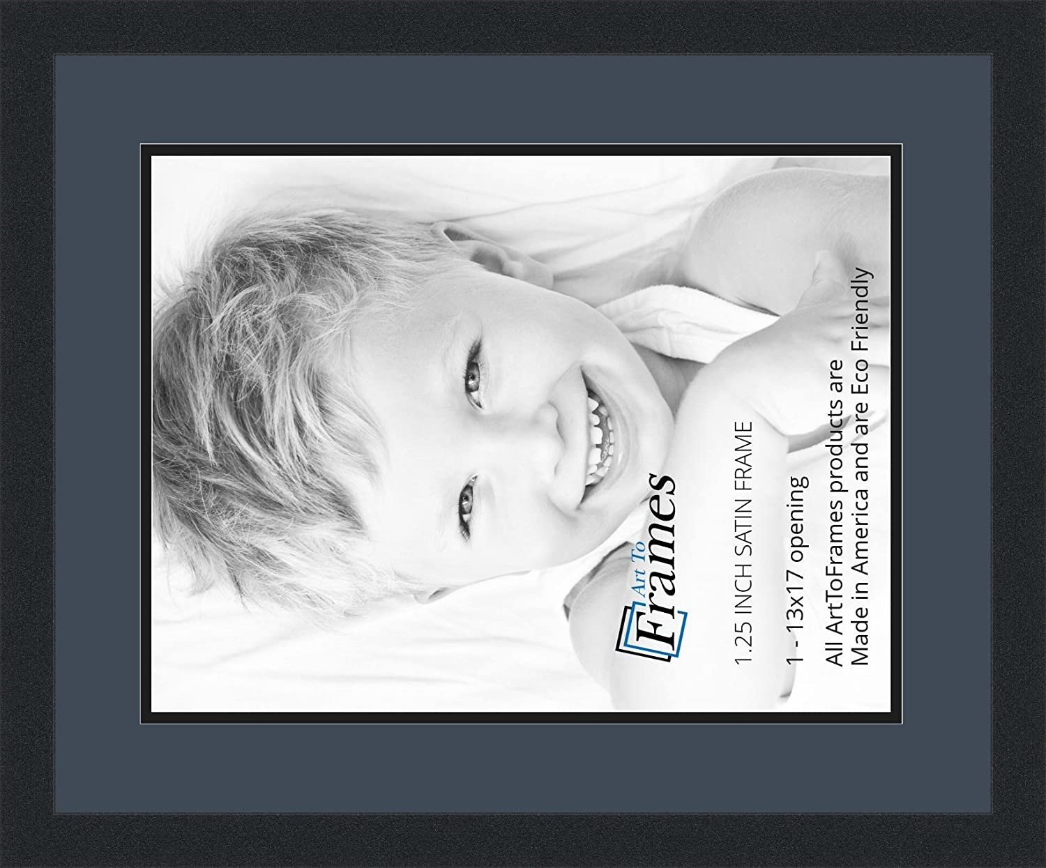 ArtToFrames Collage Photo Frame Double Mat with 1-13x17 Openings and Satin Black Frame