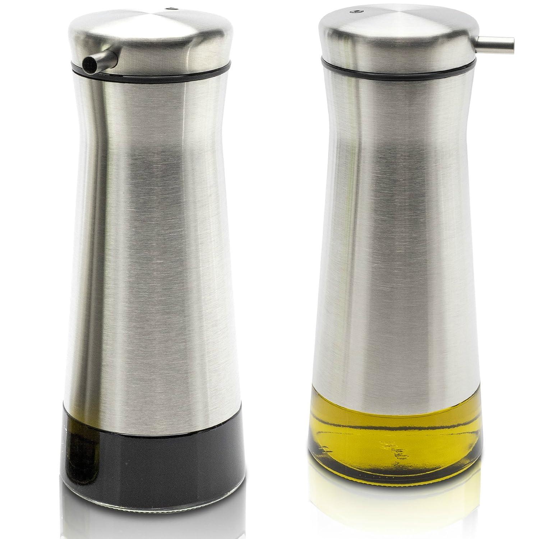 Elegant Olive Oil And Vinegar Dispenser - Stainless Steel Set of 2 - Gorgeous Oil Container Cruet Set Guarantees Easy & Drip Free Pouring KIBAGA