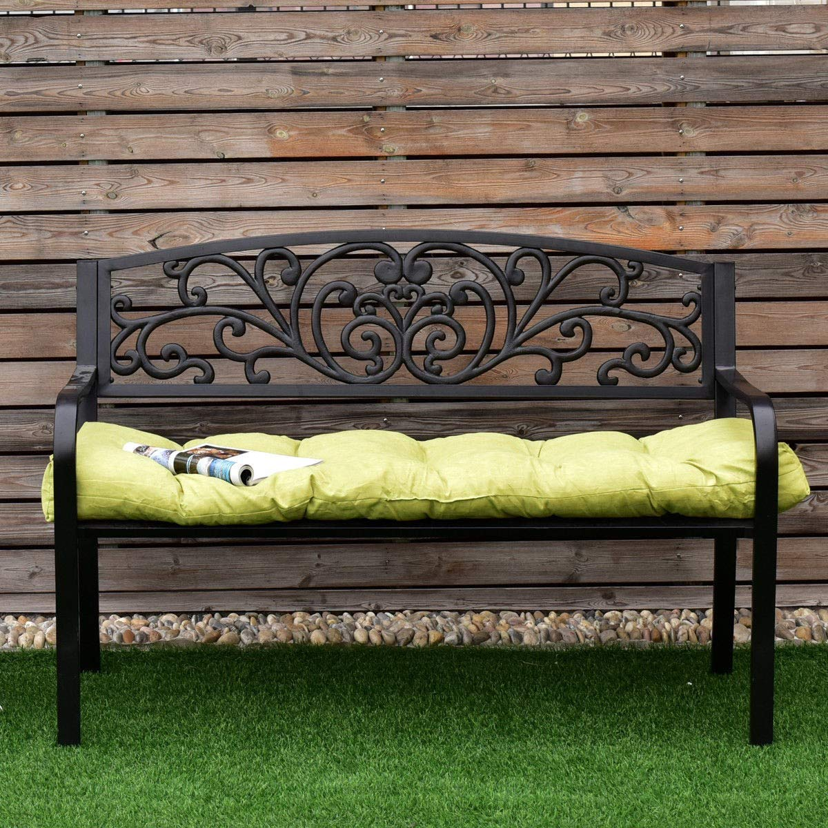 BeUniqueToday 51'' Indoor Outdoor Swing Glider Sit Bench Chair Cushion Tufted Pillow