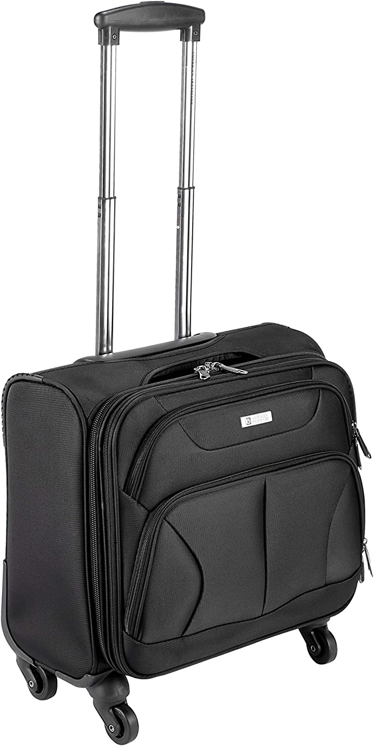 """16"""" Carry On Spinner Luggage,UCANDO Soft-side Under-seat Rolling Tote Traveling Suitcase Boarding Bag,Black"""