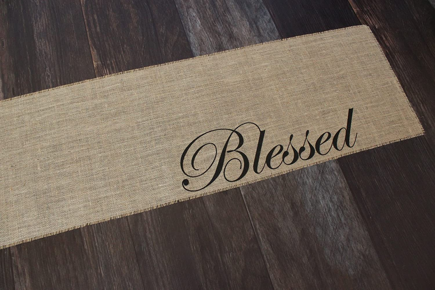 12 inches by 64 inches Blessed Burlap Table Runner