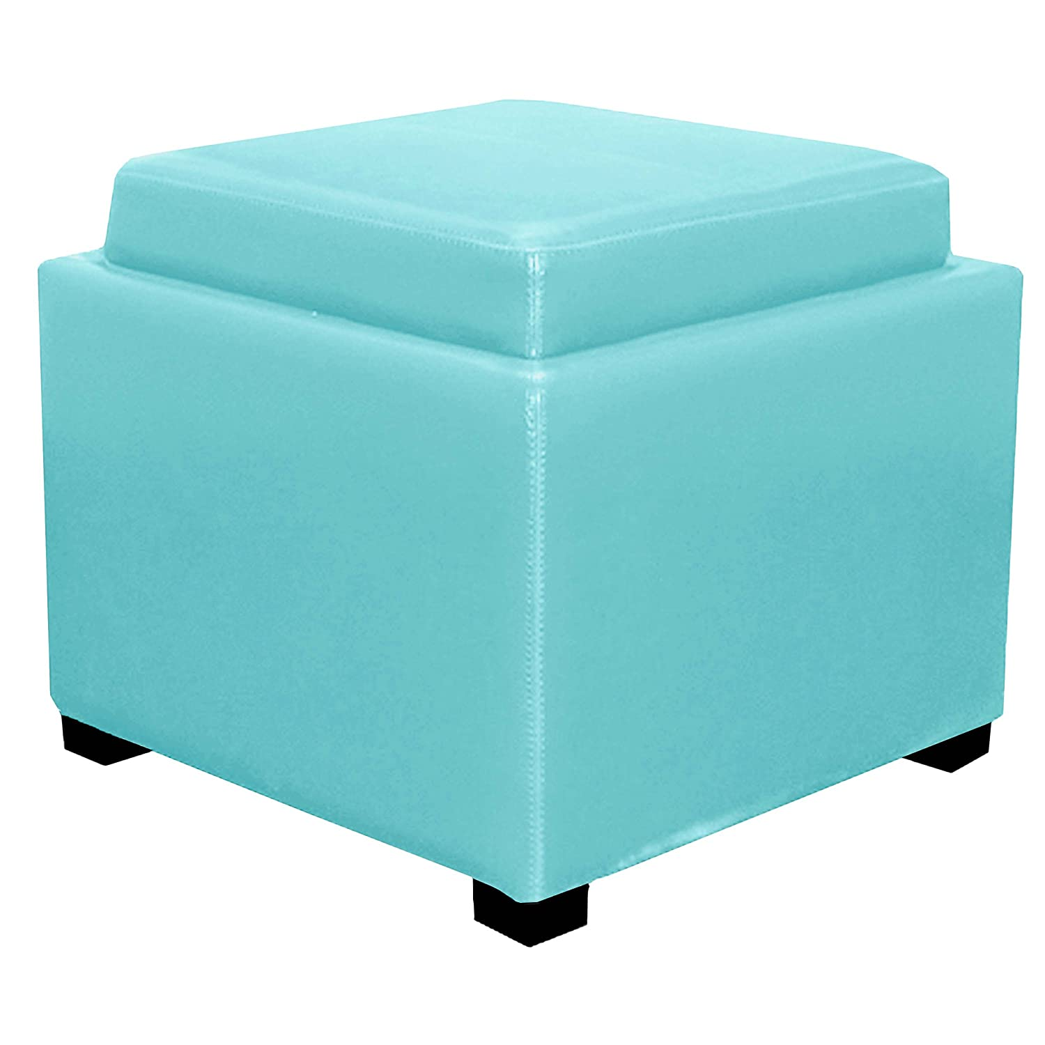Miraculous New Pacific Direct 113042 3632 Cameron Square Leather Storage Ottoman Furniture Blue Andrewgaddart Wooden Chair Designs For Living Room Andrewgaddartcom