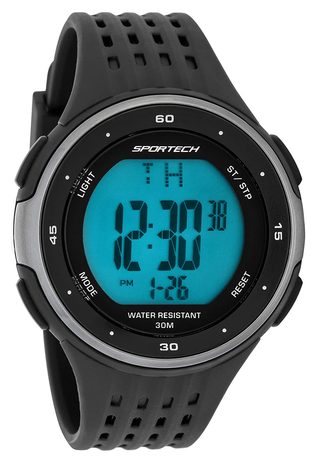 Sportech Men's | Classic Black Digital Water Resistant Sport Watch | SP12303