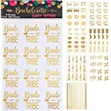 119 pc Bachelorette Party Tattoos/Bride Flash Tattoos (8 Sheets) Perforated Temporary Metallic Gold Tattoos Quick Bridal Shower Party Favor Decorations: Bride Tribe, Bridesmaid, Maid of Honor, Funny
