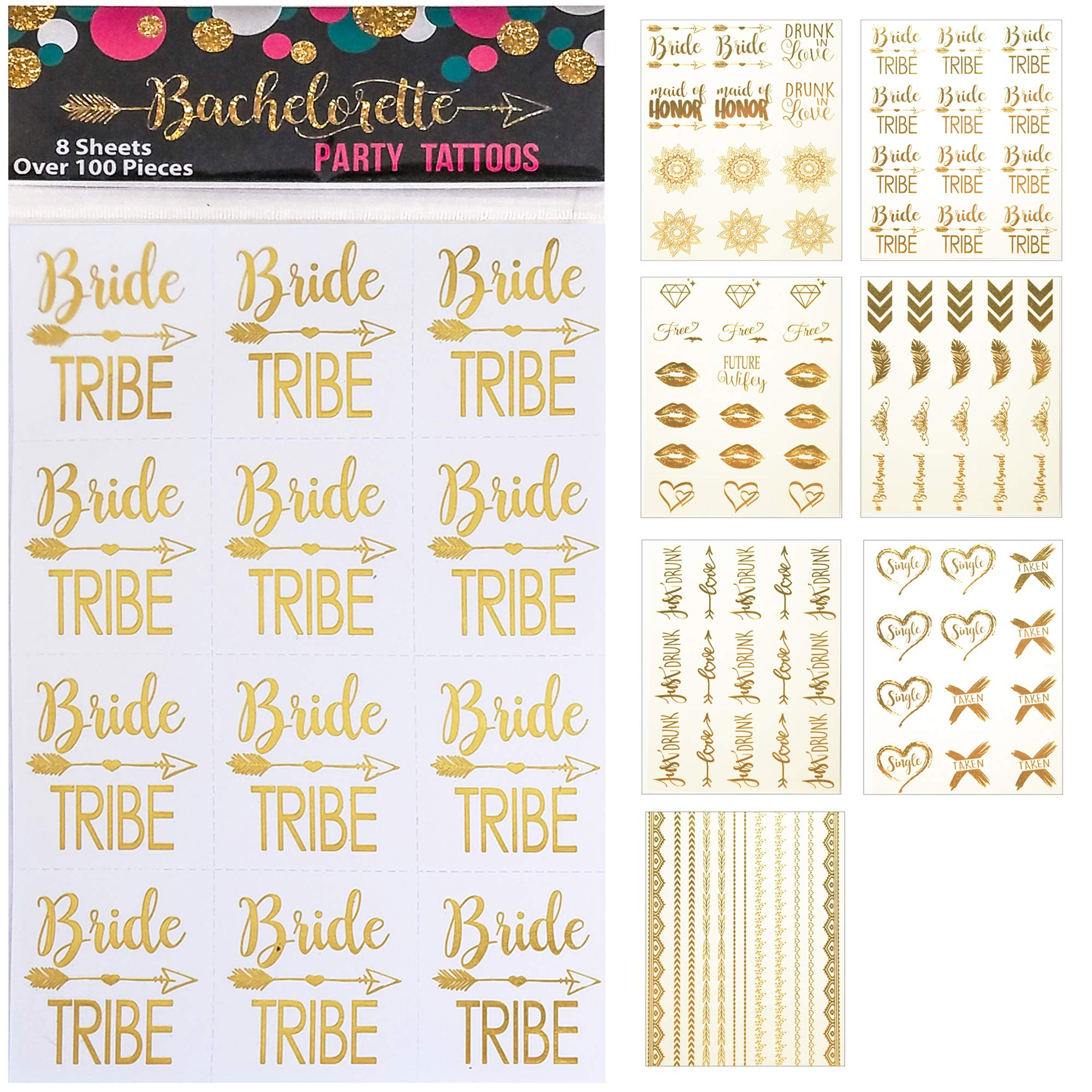 119 pc Bachelorette Party Tattoos/Bride Flash Tattoos (8 Sheets) Perforated Temporary Metallic Gold Tattoos Quick Bridal Shower Party Favor Decorations: Bride Tribe, Bridesmaid, Maid of Honor, Funny by Happy Magnolia