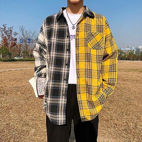 DUANXU Pullover Hip Hop,Camisas a Cuadros para Hombres Moda Patchwork Camisa Casual de Manga Larga Hip Hop Streetwear Hombre Blusa: Amazon.es: Deportes y aire libre