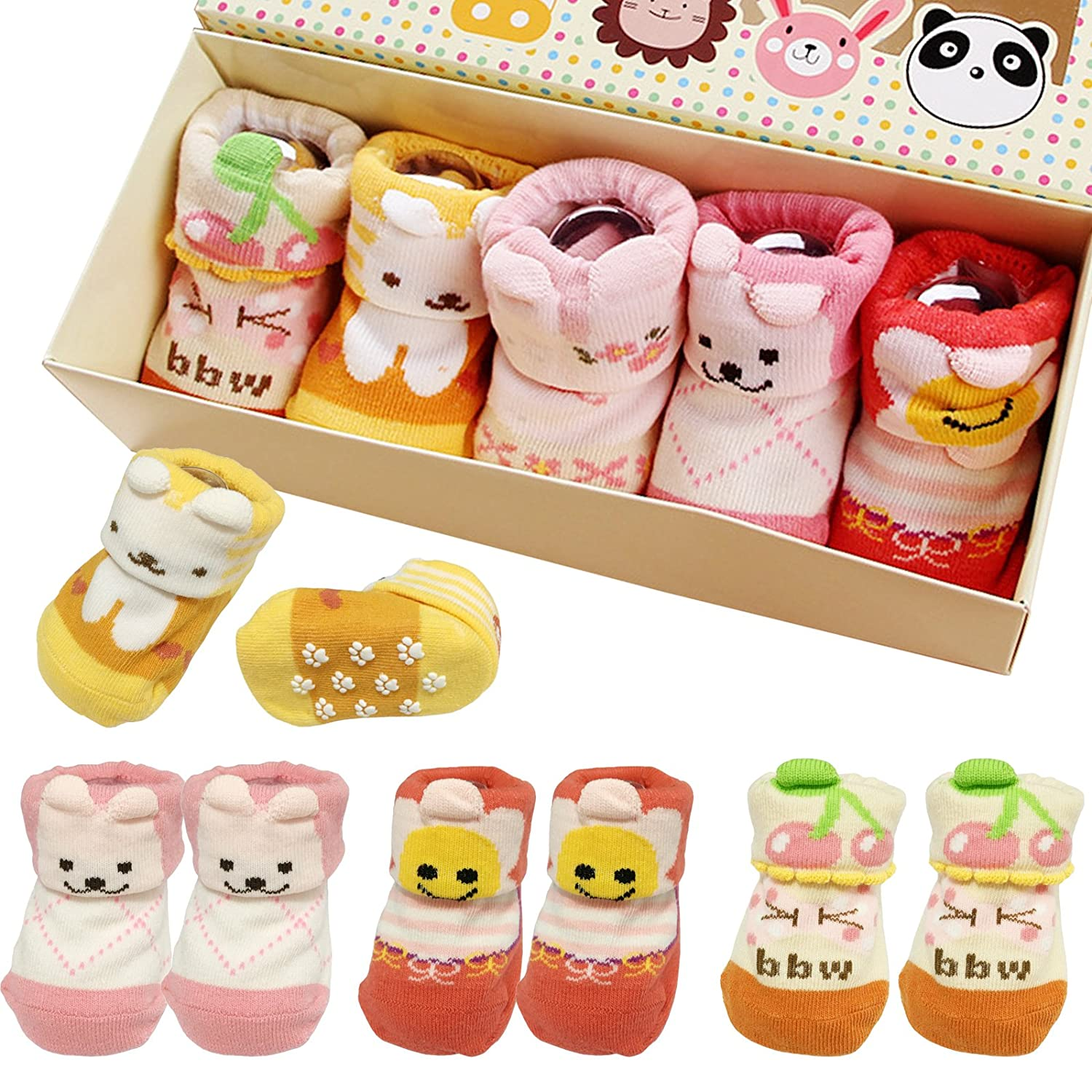 Amazon.com: fly-love ® 5 pares 0 – 18 meses Niñas Animal ...