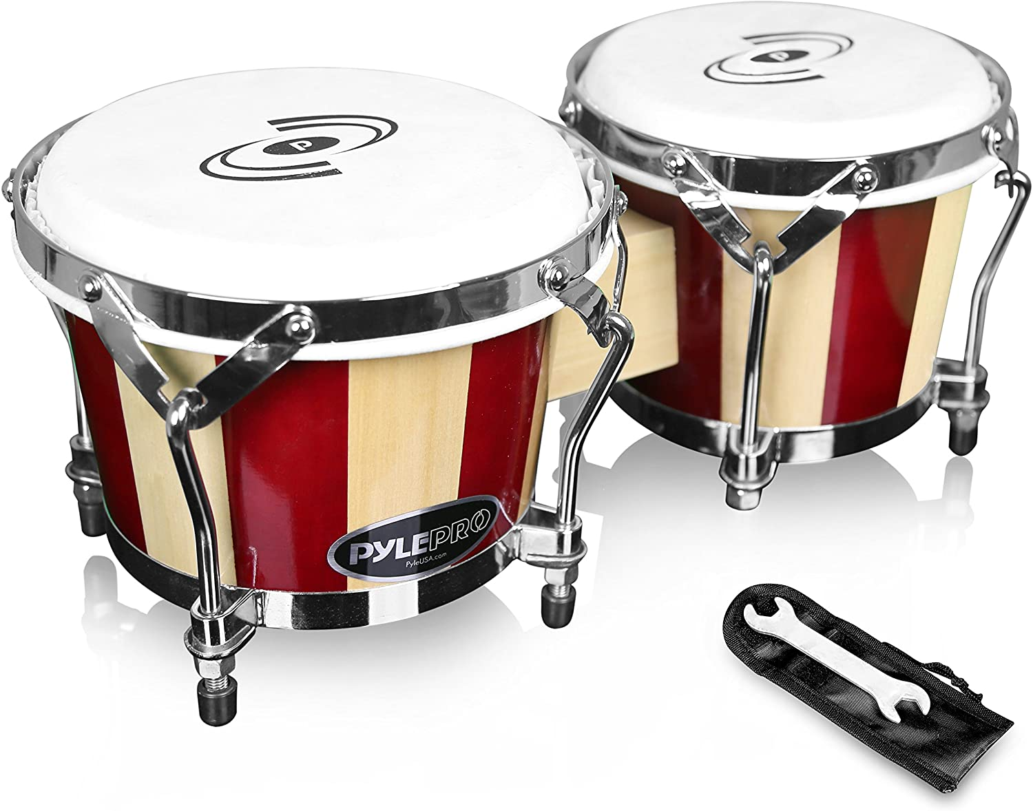 Pyle Hand Crafted Bongo Drums