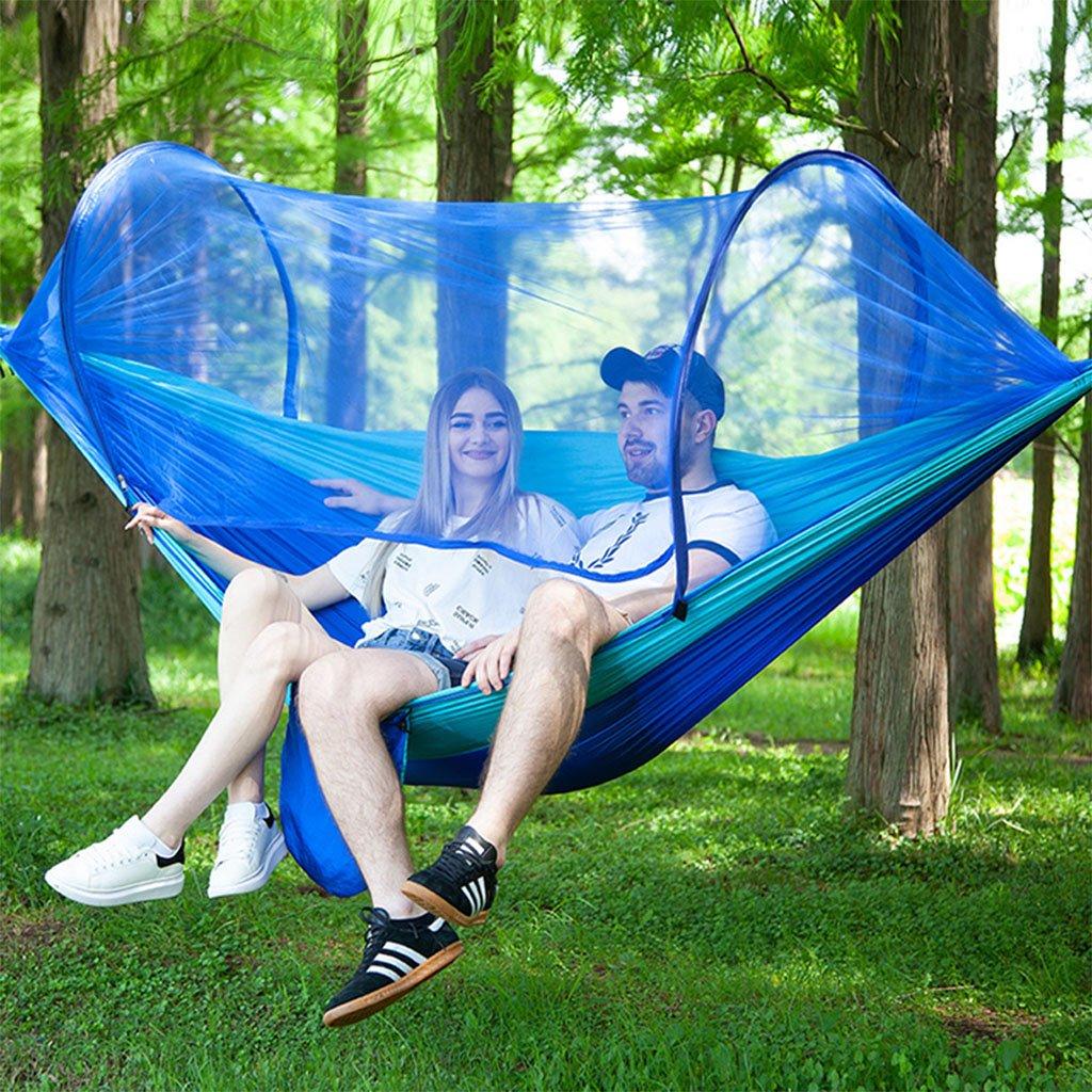 WJING 2 Personnes Hamacs De Camping avec des Moustiquaires Adapt/é pour La Randonn/ée en Plein Air Sac /À Dos,Blue Nylon Parachute Tissu-Portable Hamac Pliable-Balan/çoire avec Filet De Tente Couchage