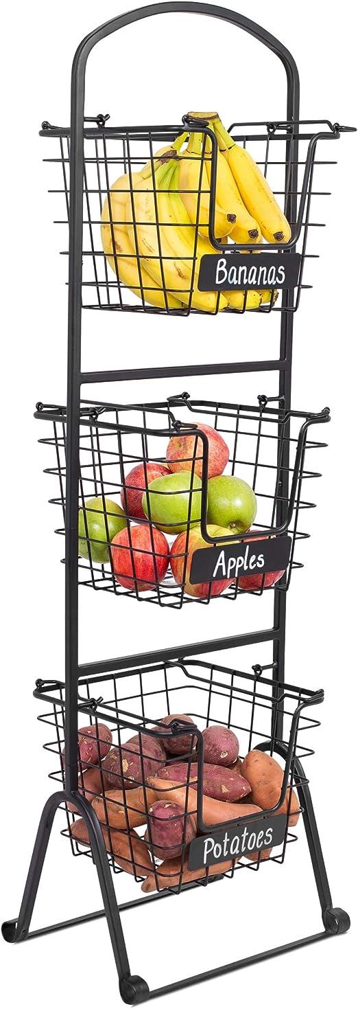 3-Tier Hanging Fruit Basket Vegetable Swing Basket Snack Rack Display Stand