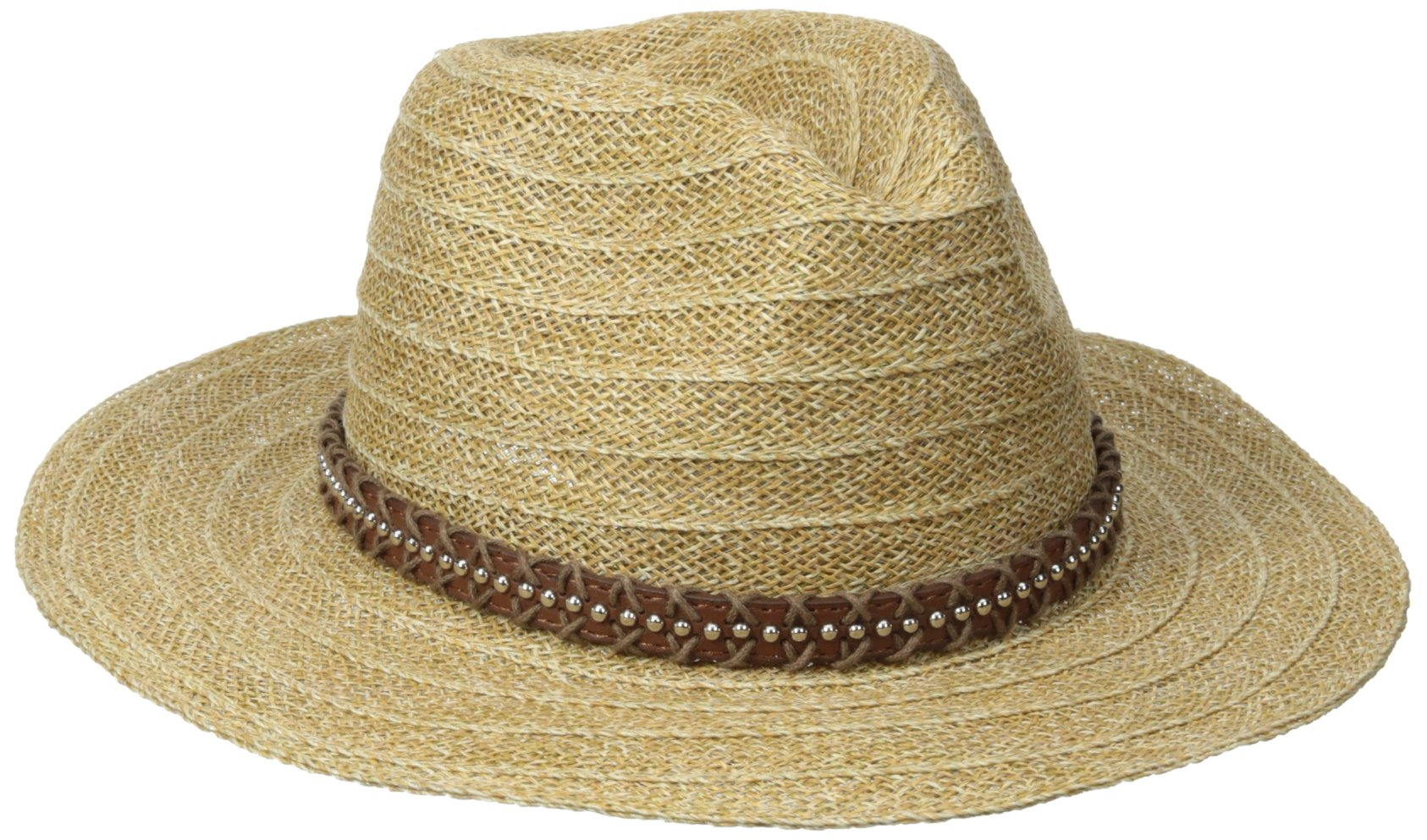 San Diego Hat Company Women's Wide Brim Leather Studded Fedora, Natural, One Size