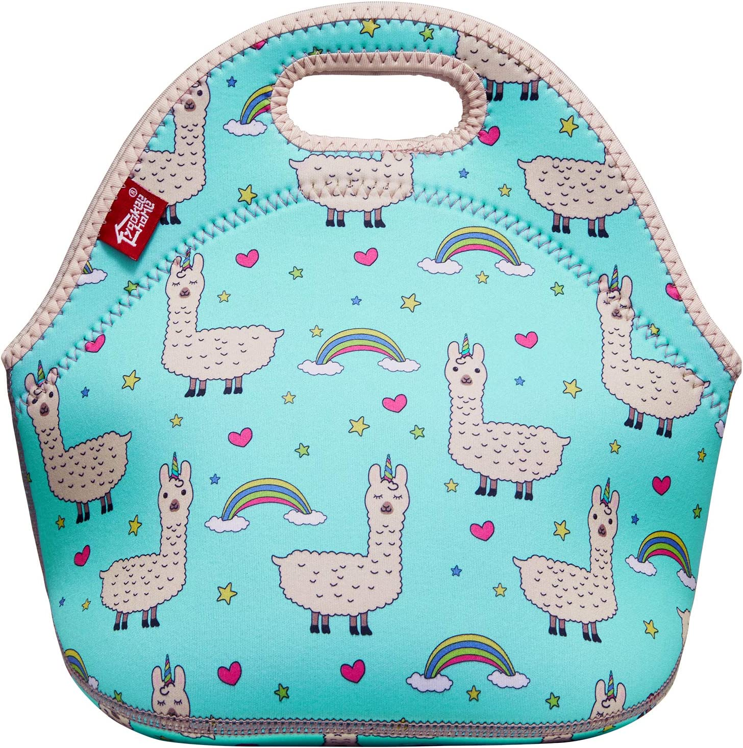 Cute Lunch Bags for Kids Thermal Neoprene Lunch Tote Bag for Girls Boys Soft LunchBox for Kindergarten Kids, Alpaca