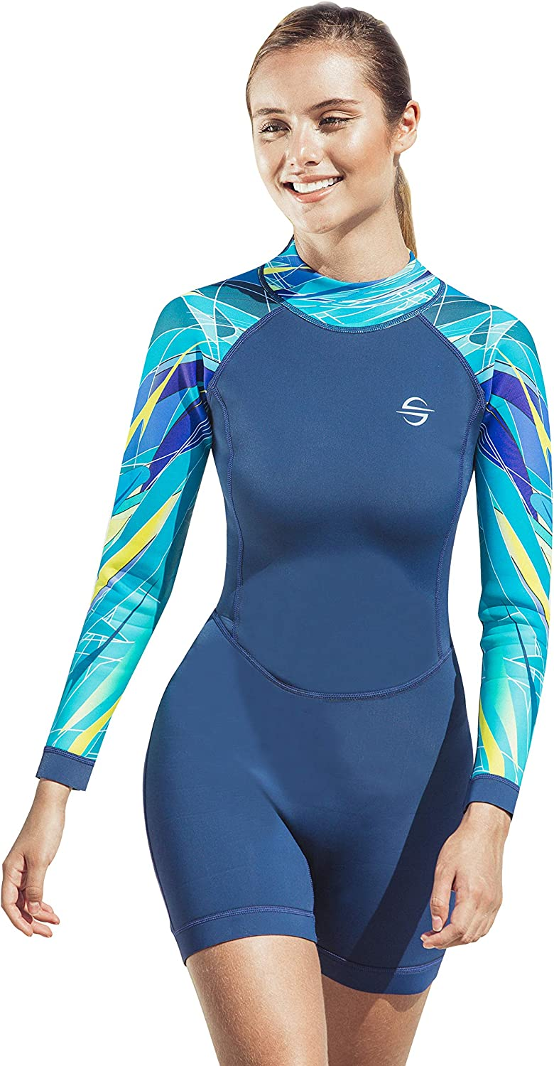 2.0mm Platinum Sun Womens Neoprene Shorty Wetsuit Long-Sleeve Swimsuit Water Suits for Diving Surfing Kayaking Canoeing Snorkeling
