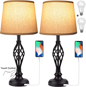 Touch Control Traditional Table Lamp Set of 2, Vintage Bedside Lamps with USB Charging Port, 3-Way Dimmable Large Cream Drum Shade Spiral Cage Base Desk Lamps for Living Room, Bedroom by PARTPHONER
