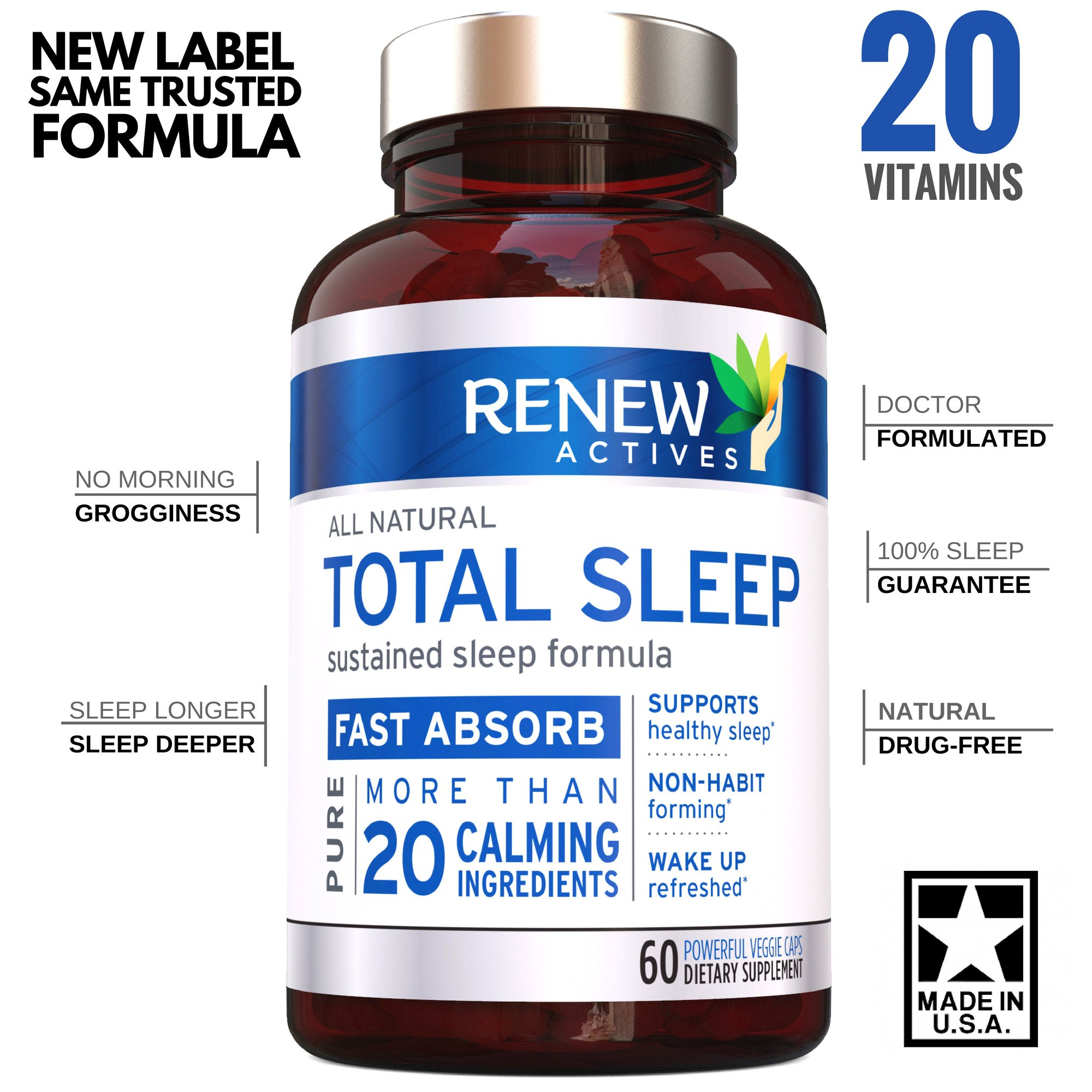 All Natural Sleep Aid Supplement. Non-Habit Forming Sleeping Pill. Our Guarantee is A Deeper, Longer & Restful Sleep! Starting Tonight Get the Peaceful & Natural Sleep You Deserve! by Renew Actives (Image #1)