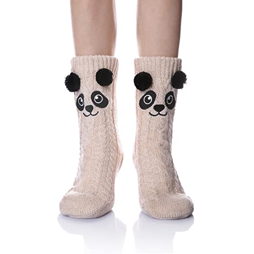 832ae2363b345 Velice Women's Soft Cute Cable Knit Animal Warm Fuzzy Fleece Lining Winter  Cozy Home Slipper Socks