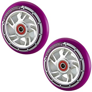Team Dogz 100mm Swirl Scooter Wheels - Silver Cores with Purple Tyres (Pair)