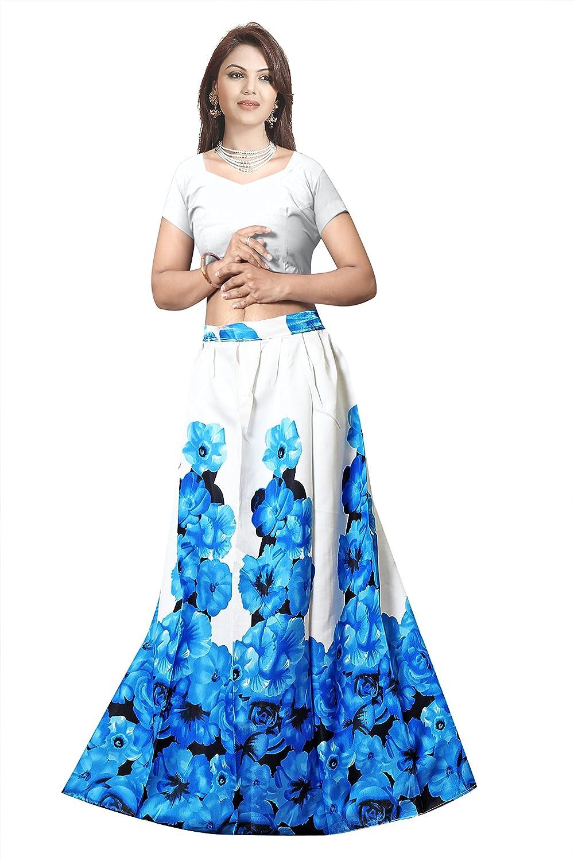 VKARAN Women's Banglory Satin Silk Blue and Cream Floral