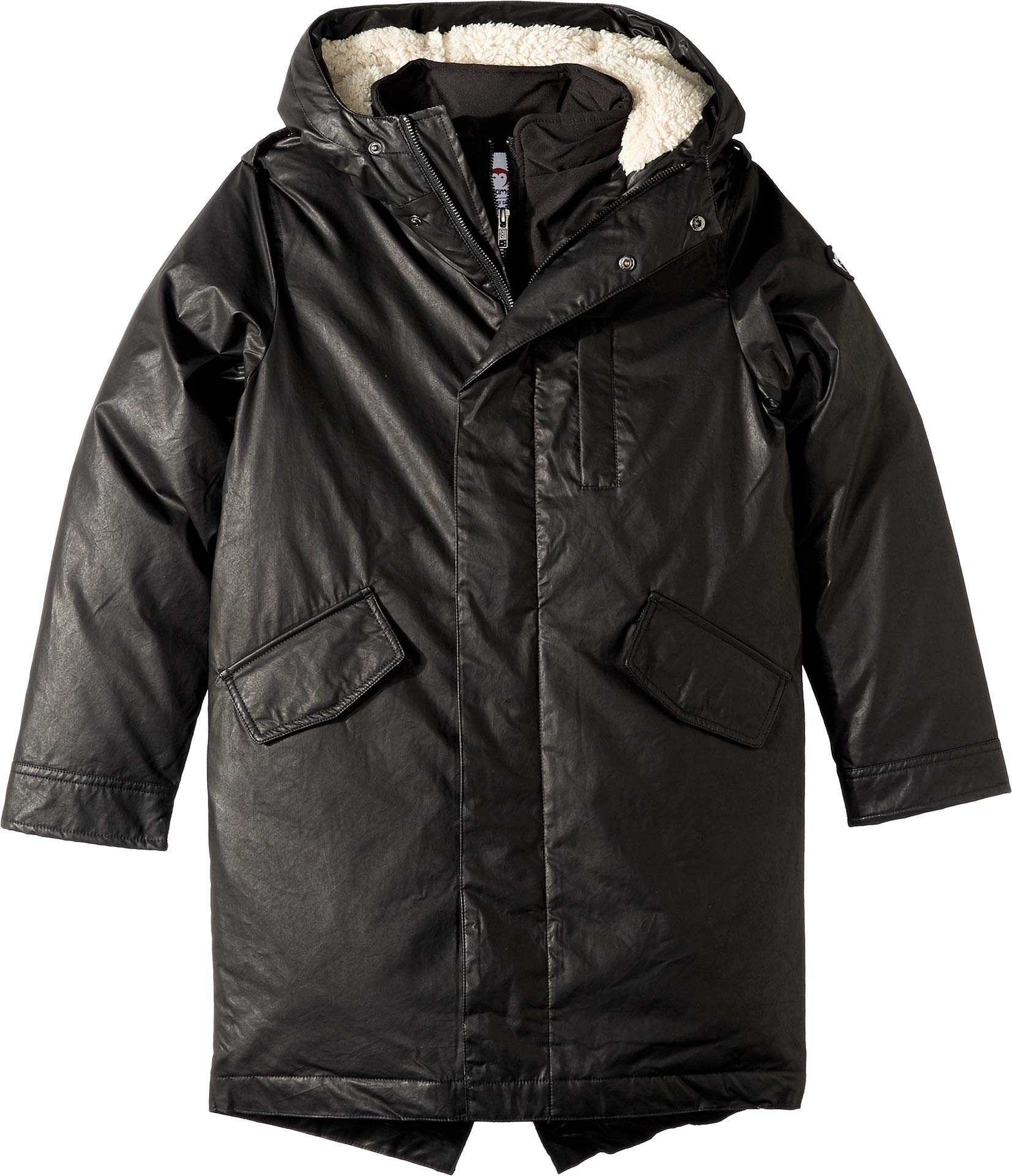 Appaman Kids Baby Boy's Extra Soft Lined Zip and Button Up Himalaya Down Coat with Hood (Toddler/Little Kids/Big Kids) Black 6