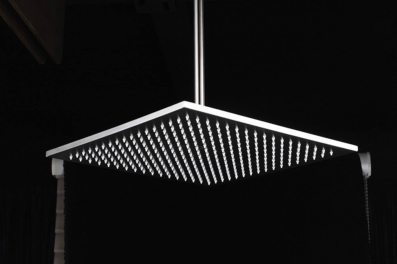 empotrable cromo Moderna alcachofa de ducha de lujo 3 colores LED LED cuadrada 40 x 40 cm