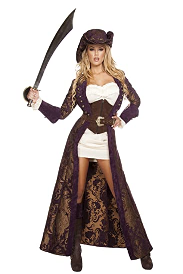 ... Womenu0027s Deluxe Decadent Diva 6-Piece Pirate Long Full Length Gold And Purple Brocade Coat  sc 1 st  Deluxe Theatrical Quality Adult Costumes & Sexy Lady Pirate Costumes | Deluxe Theatrical Quality Adult Costumes