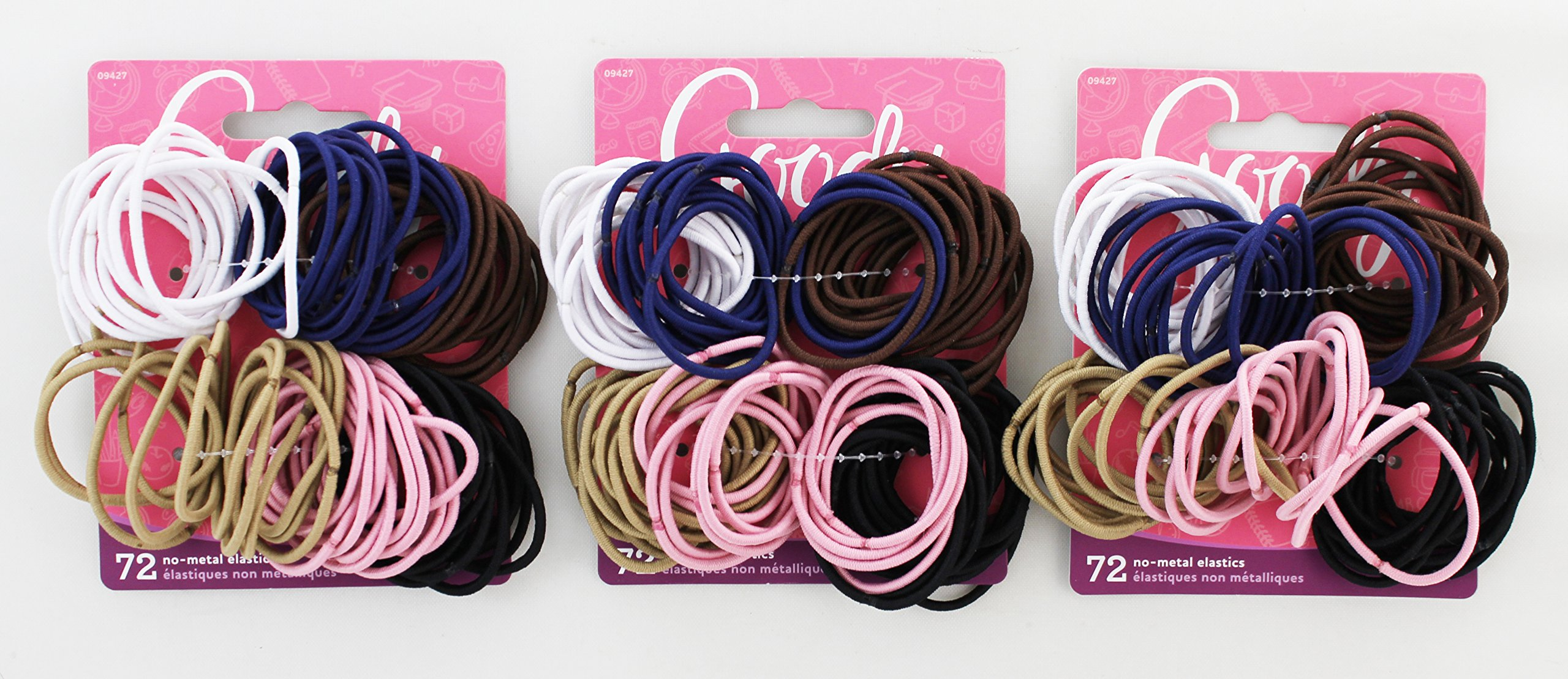 Goody - Ouchless No Metal Gentle Elastics, Assorted Colors, 72 pack (4-Pack)