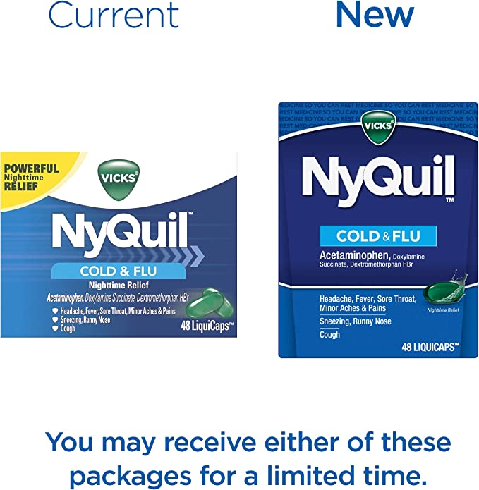 Amazon.com: Vicks NyQuil Cough, Cold & Flu Nighttime Relief, 48 LiquiCaps -  #1 Pharmacist Recommended, Nighttime Sore Throat, Fever, and Congestion  Relief (Packaging May Vary): Health & Personal Care