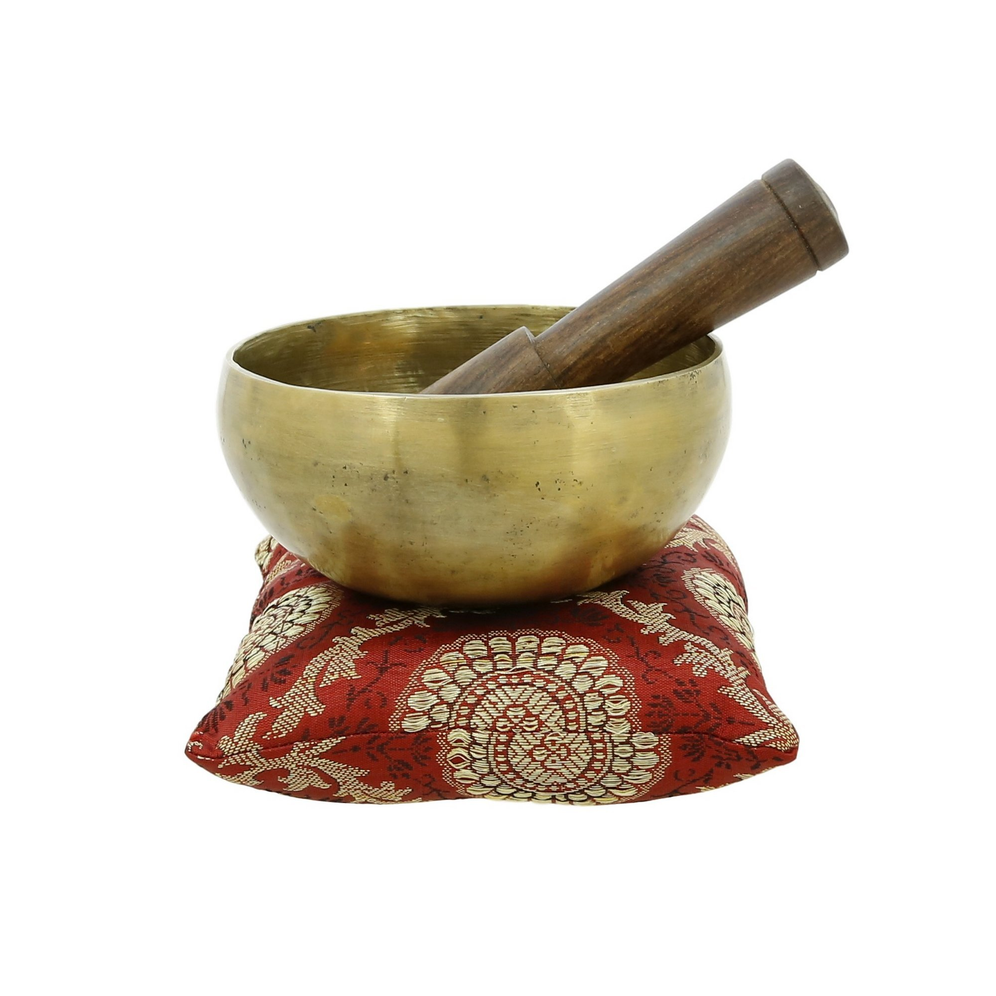 Handmade 5 Inches Bell Metal Tibetan Buddhist Singing Bowl Musical Instrument for Meditation with Stick and Cushion