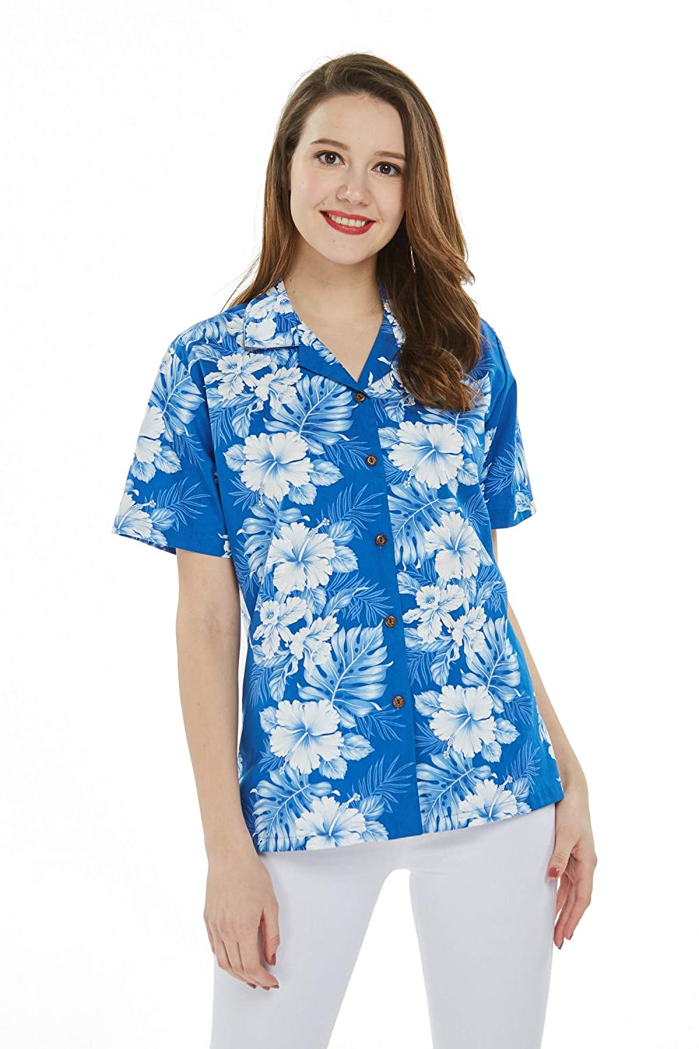 bluee With White Line Floral Made in Hawaii Women's Hawaiian Lady Aloha Shirt in bluee with White Line Floral