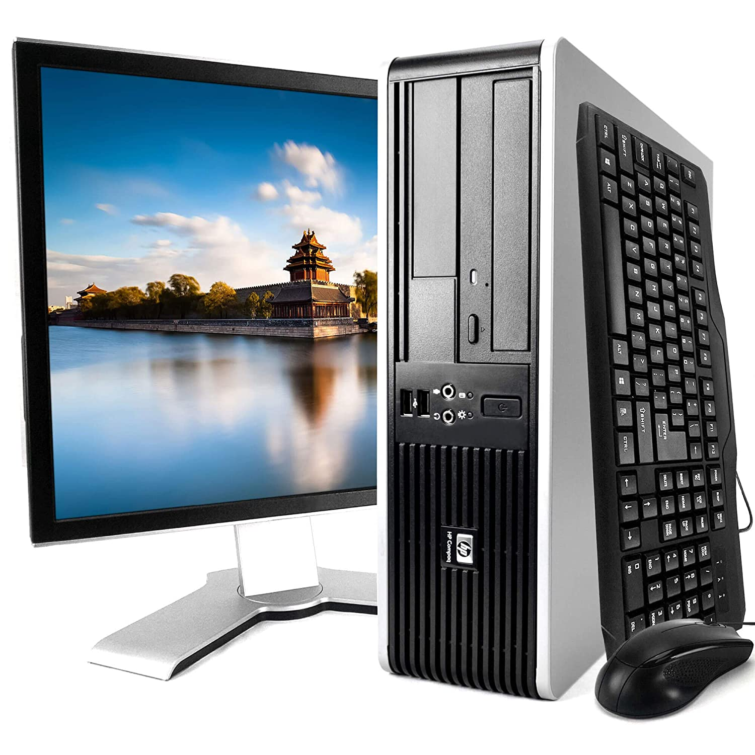 HP Elite 7900 Desktop PC Package, Intel Core 2 Duo Processor, 8GB RAM, 500GB Hard Drive, DVD-RW, Wi-Fi, Windows 10, 19in LCD Monitor (Renewed)