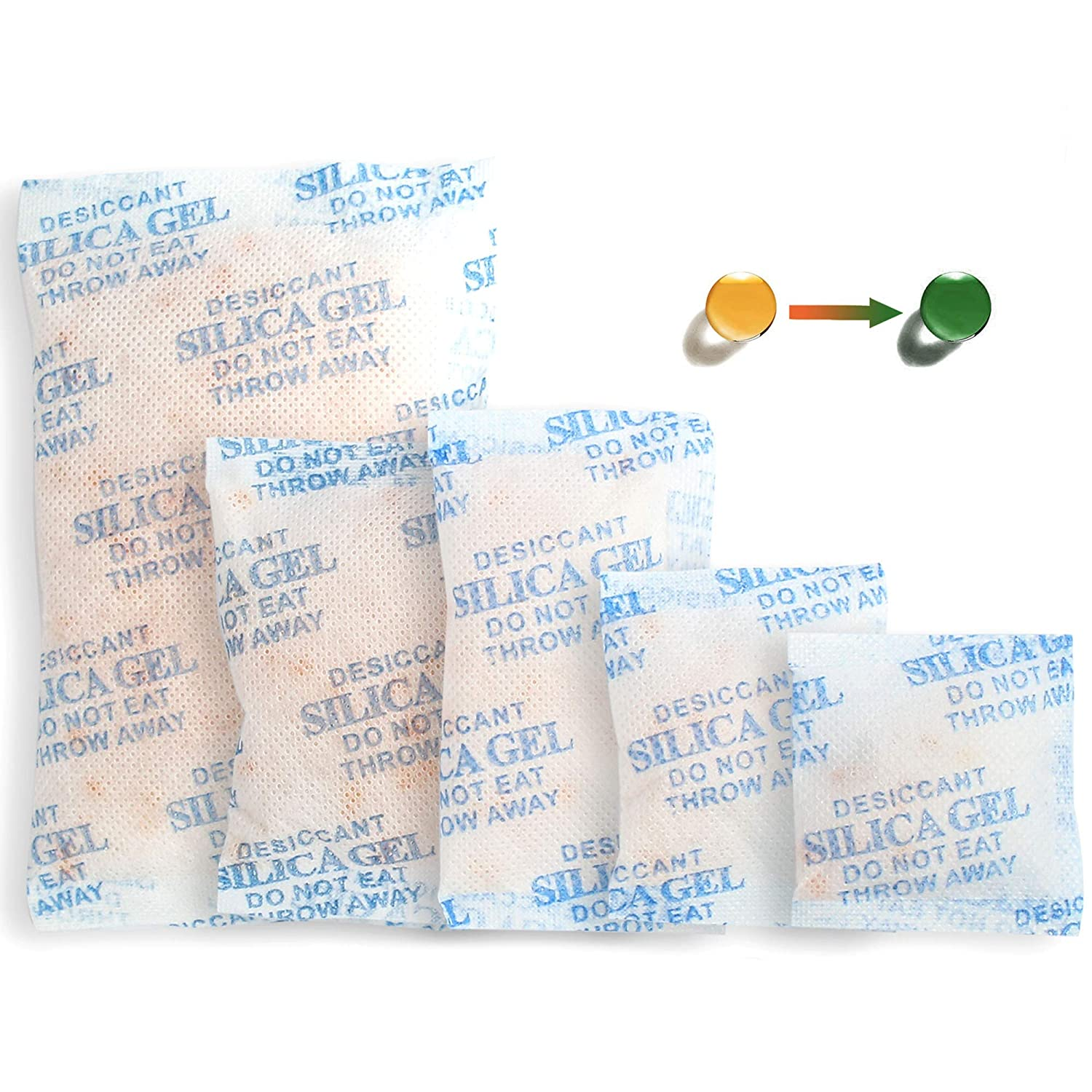 100Packs Mixed Indicating Silica Gel Packets, (3-50g) Rechargeable Desiccant Packets and Dehumidifier with Orange Color Indicating, Food Safe Silica Gel for Moisture Abosrber